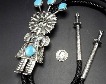 Spectacular Navajo Hand Stamped Sterling Silver & TURQUOISE KACHINA BOLO Tie