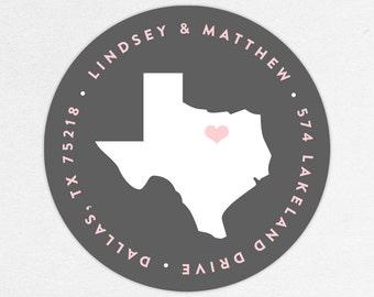 Return Address Label, Wedding Return Address Label, Family Return Address Label, Save the Date Return Address Label, Texas Address Label
