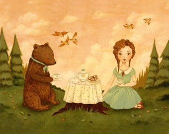 Children's Art - The Bear Who Came To Tea Print 7x5 / 8x6 - Baby, Girl, Picnic, Tea Party, Forest, Nursery, Cute, Pink, Mint, Green, Cream