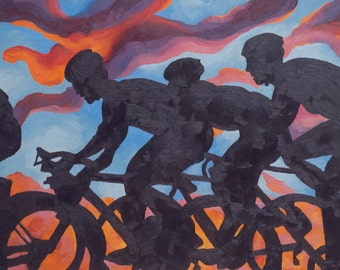 """Road Bike Art Print ~ Gift for Cyclist ~ """"The Overtaking"""" ~ Road Bike Print ~ Cycling Art Print ~ Biking Painting Reproduction"""