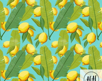 Lemon Botanical Fabric / Turquoise Lemon Fabric /Quilting Fabric / Home Decor Fabric / Citrus Tropical Fruit Print by the Yard & Fat Quarter