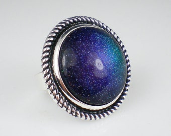 Blue Teal Purple Holographic Glitter Nail Polish Ring Glitter Statement Jewelry