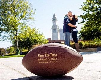Save the Date Football, Wedding Engagement Photo Prop Sign, Couples Wedding Announcement, Engagement Photos, Couples Football, Wedding Date