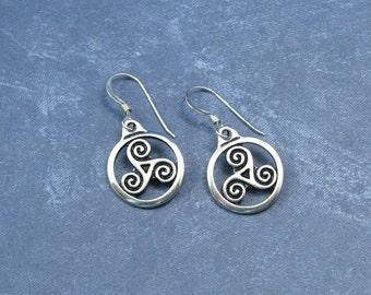Triskele Earrings on Sterling Silver Ear Wires, Silver Triskele Charms, Celtic Jewelry, Celtic Triskele Earrings, Triple Spiral Earrings