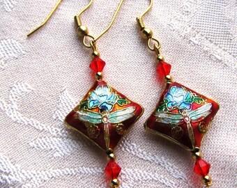Dangle Earrings Orange Cloisonne Dragonfly Flat Diamond and Swarovski Crystals