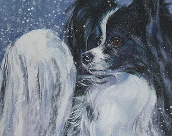 """PAPILLON dog portrait art canvas PRINT of LAShepard painting 8x8"""""""