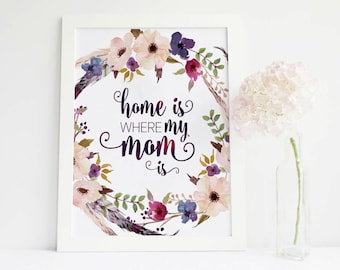 mothers day from daughter, Home Is Where My Mom gift for mom mothers day gift, Mother Gift mom gift Printable, gift for mother mom print