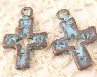 Turquoise Cross Crucifix Charm, Rustic, Patina Charms, Mykonos Casting (4) - M92 - X0998