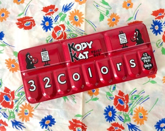 1940s/1950s kopy kat paint box / 32 colors / vintage watercolor paints / child's paint set / novelty paint set