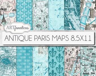 """Paris maps 8.5x11 digital papers, """"ANTIQUE PARIS MAPS"""" Paris map,vintage maps,blue maps, fleur de lis,french maps for scrapbook, backgrounds"""