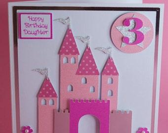 Prince/Princess Castle Handmade Birthday Card, 1st birthday card, pink princess castle birthday card, princess castle card,