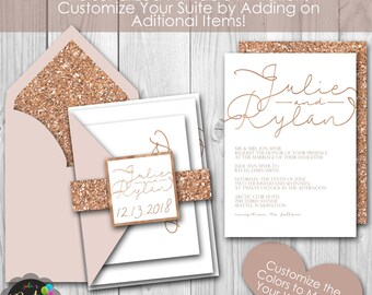 Rose Gold Glitter Printable Wedding Invitation Suite