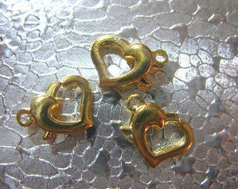 Heart Lobster Clasps Set of 12 Gold Plated Clasp Heart Findings