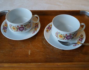 Duo set cups and mugs, vintage 70's Bavarian porcelain. Table art.