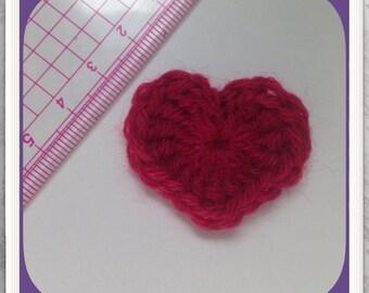 Set of 5 hearts purple crochet