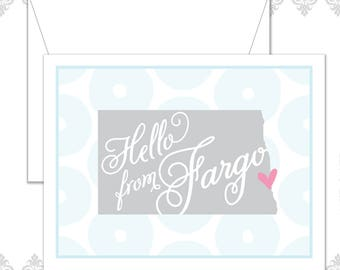 Hello From Fargo set of 10 folded cards and envelopes, Fargo Card, North of Normal, Fargo North Dakota, Midwest card, ND state card