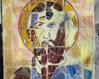 Felt Icon of St. Theodor,Wool Felt Tapestry,Fiber,Felt Art Icon,Felt Icon Tapestry of st.Theodor,Felt Wall Picture,Needle Felting