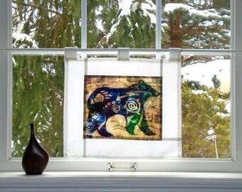 Animal Spirit ~ Bleached Art Batik Pojagi Patchwork Window Treatment ~ cabin curtain ~ bohemian cafe ~ fiber art curtain