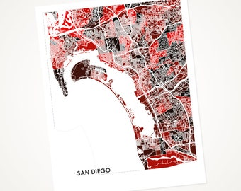 San Diego Map Print.  Choose your colors and size.  Perfect for your University of California or State University Grad. UCSD Art.