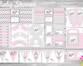Baby Elephant!!!Printable Party Set!!! DIY!!! Digital!!!Party!!