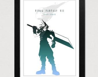 Final Fantasy VII Poster, Cloud Strife Print, FF7 Video Game Poster