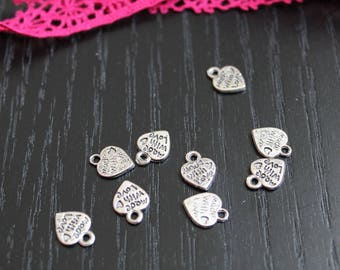 10 charms silver metal for making bracelets Heart Charm