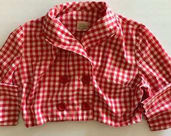 SOLD!  Partial payment pending! - Red Check Jacket - 1960s - Short - Double Breasted - Big Red Buttons - Charming!