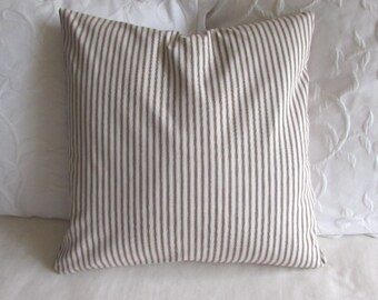 FRENCH TICKING pillow cover brown white16x16 18x18 20x20 22x22 24x24 26x26