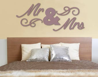 MR & MRS Wood Letters,Wall Décor-Painted Wood Letters, Wall Letters