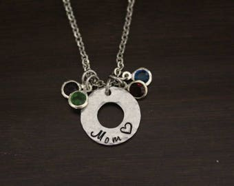 Mom Necklace - Hand Stamped Necklace - Birthstone Necklace - Mother Necklace - Textured Necklace - Initials Mom Necklace - Bst/In