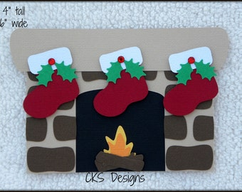 Die Cut Christmas Chimney Fireplace with Stockings Premade Paper Piecing Embellishment for Card Making Scrapbook or Paper Crafts