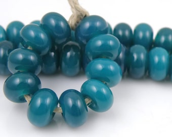 CiM Rainforest Made to Order SRA Lampwork Handmade Artisan Glass Spacer Beads Set of 10 5x9mm