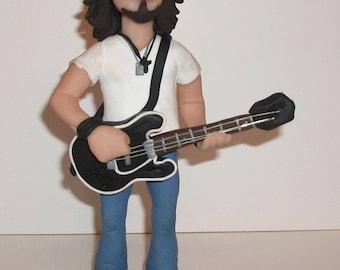 Chris Cornell, Soundgarden, Audioslave sculpture, polymer clay figurine - hand sculpted, guitar, rock star home decor - fimo, sculpey