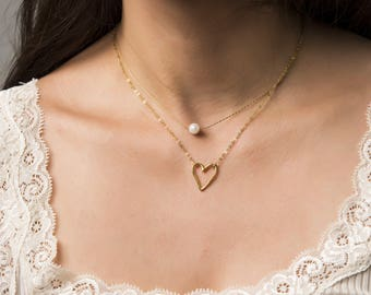 Dainty Heart Necklace, Perfect Gift for Her, Open Heart Necklace, Girlfriend Gift, Dainty Gold Necklace, Birthday Gift, Gold Heart Necklace
