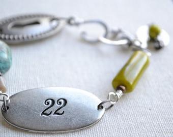 Keyhole gemstone wire worked bracelet