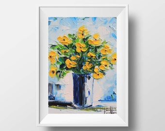 Poppy Print, Floral Print, Flower Print, Yellow Poppies, Romantic Gift, Fine Art, Palette Knife Painting, Flower Painting, Poppies,Poppy 5x7