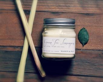 GreenTea Lemongrass Mason Jar Soy Candle