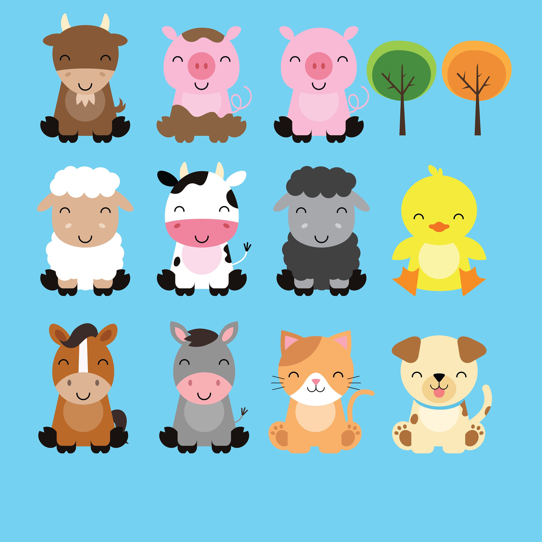 farm baby animals clipart cute animal clipart barnyard animals rh etsystudio com barnwood clip art free barnwood clipart