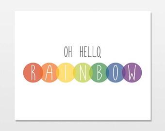 Rainbow Baby Art Print, Rainbow Nursery Digital Download Artwork, Hello Rainbow Simple Modern Printable Decor