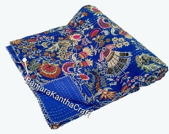 Kantha Quilt Cotton 2 Layer Kantha Quilt Kantha Throw Bedspread Bedsheets Bedcover Blanket With HandKantha work Sheet Queen Size King Size