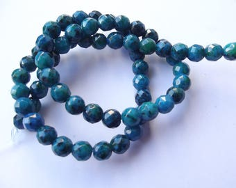 66 azurite tinted 6 CHEBAR 510 mm faceted round beads