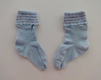Vintage Pair of Blue Cotton Baby Toddler Cuff Socks Stockings