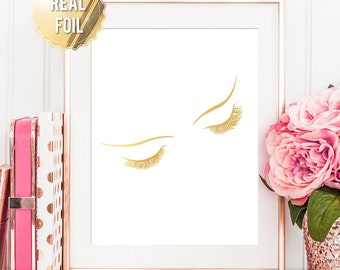 Fashion Wall Art - Makeup Pictures - Gold Foil Print - Makeup Artist Gift - Fashion Print Bedroom Decor - Eye Lashes Print AKAFOILS