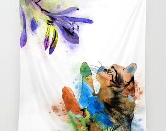 Wall Tapestry Wall Hanging Sofa Throw Cat 610 green purple blue brown Home Decor L.Dumas