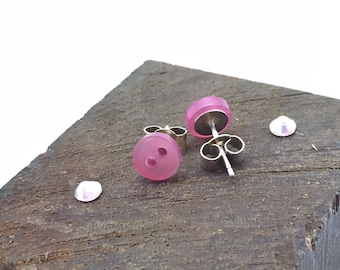 Pink stud earrings, stud earrings, pink buttons, sterling silver, pink, silver studs, tiny earrings, tiny stud earrings, button earrings