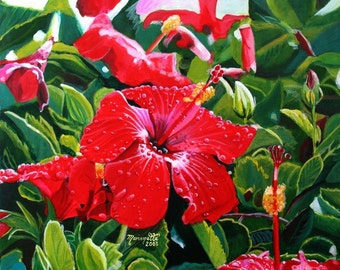 red hibiscus mele kalikimaka print 8x10 hawaiian christmas kauai hawaii maui oahu holiday gifts tropical art giclee prints