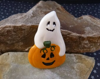 Ghost and Pumpkin Vintage Halloween Pin | Large Ceramic Ghost and Jack O Lantern Happy Fun Glossy Halloween Brooch