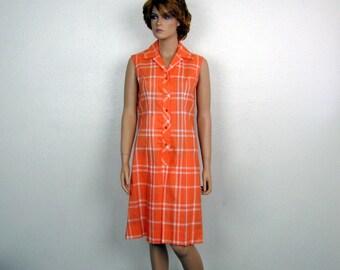 1970s Vintage Culotte Dress / Dulottes by Serbin / Orange Plaid / Never Iron / Pleated / Medium / Large / Summer Dress / Resort Wear