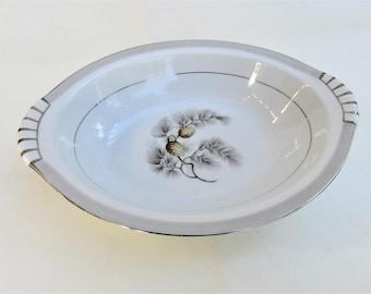 Vintage Oval Bowl | Silver Pine China | Serving Bowl | Vegetable Bowl | Gray Silver China | Fruit Bowl | 1950s Wedding China