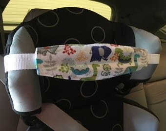 Child car seat NAP STRAP in Flannel with adjustable strap.  Dinosaurs